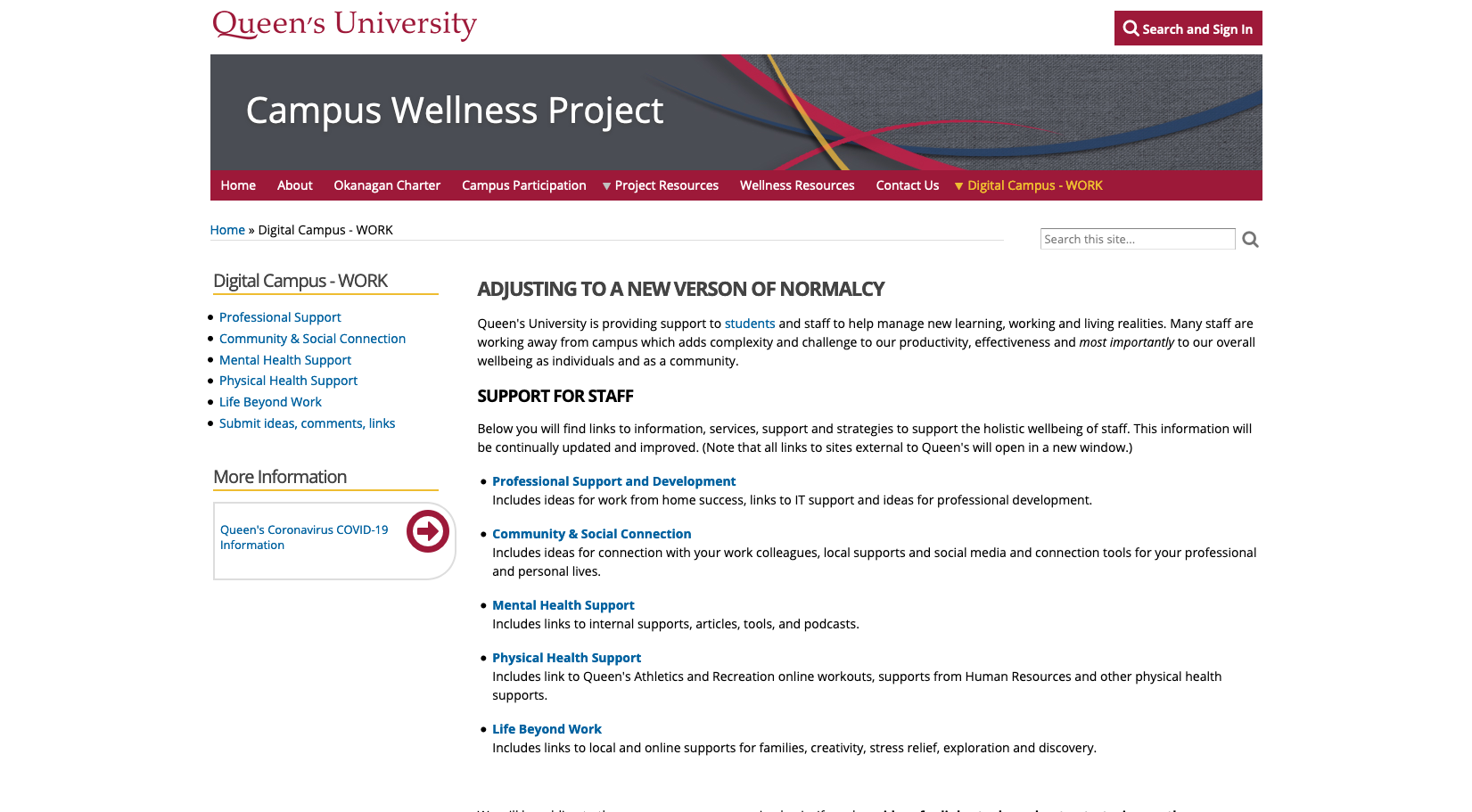 Queen's Campus Wellness Project
