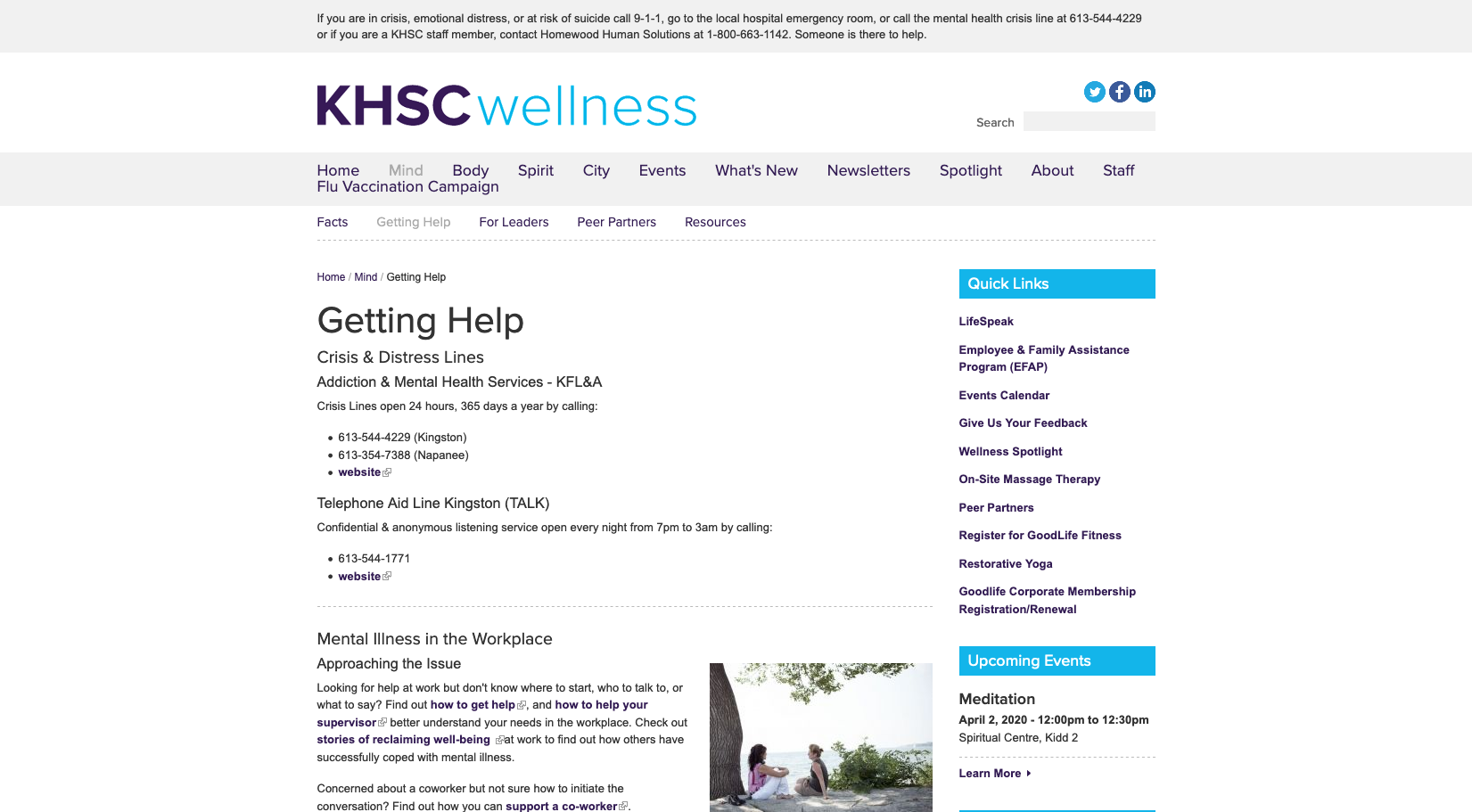 KHSC Wellness - Livespeak, Mental Illness in the Workplace