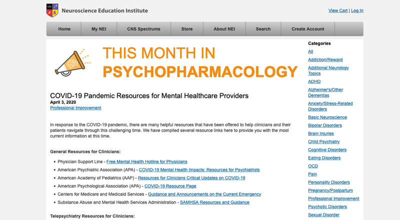 Neuroscience Education Institute - COVID-19 Pandemic Resources for Mental Healthcare Providers