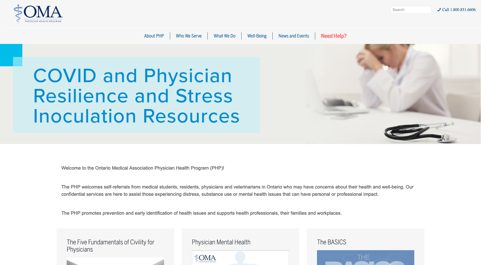 Ontario Medical Association Physician Health Program (PHP)